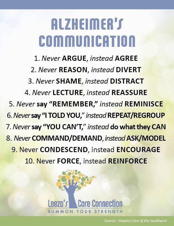 Things to remember when communicating with someone who has alzheimer