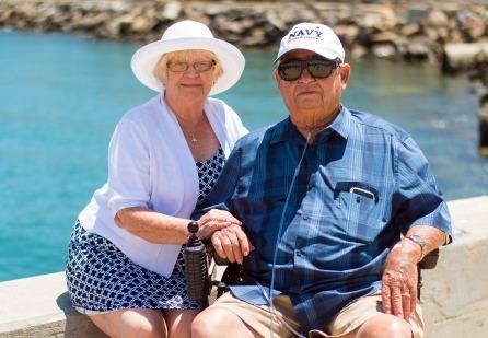 A senior couple looking happy